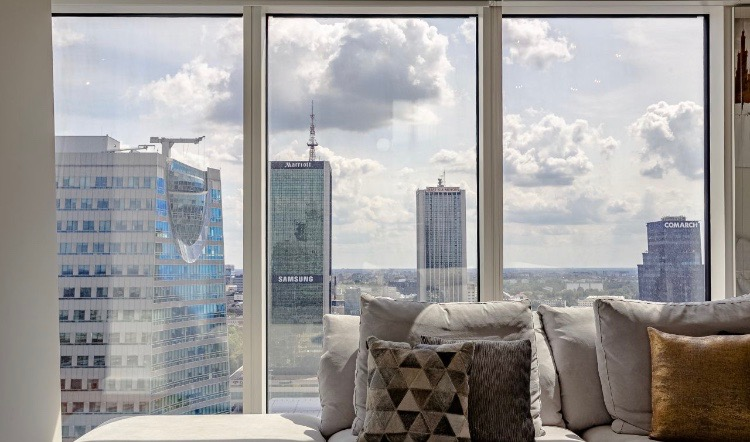 view from luxury flat warsaw