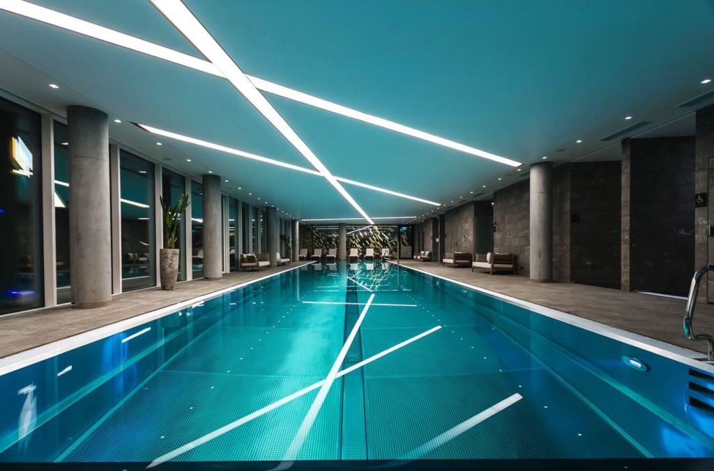 swimming pool in the luxury apartment on zlota 44 in warsaw